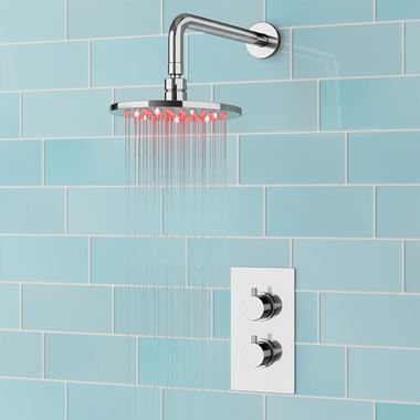Lyra Concealed Shower Valve & LED Illuminated Fixed Shower Head